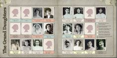 digital heritage layout by Lauren Baven.... showing a large generation of granddaughters.... great idea for those large turn of the century families.... with names, dates and color coded legend for the parents..... a cameo silhouette used when no photo available