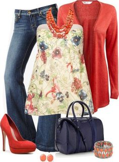 LOLO Moda: Stylish women's fashion ★ I would Have to change the red heels to red flats, but I love this outfit! Komplette Outfits, Spring Outfits, Casual Outfits, Fashion Outfits, Womens Fashion, Fashion Clothes, Fashion Ideas, Fashion Trends, Looks Chic