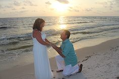 Vow Renewal on Beach!     What a perfect spot for a wedding or vow renewal.  The Cape San Blas beaches face west for the perfect sunset backdrop!