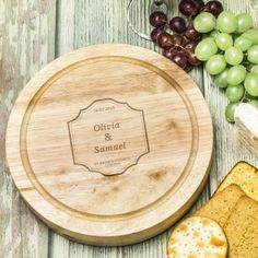Engraved Classic Wedding Wooden Cheese Board Set - Bride and Groom