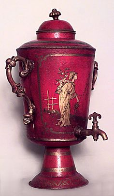 English Regency style (20th Cent) red lacquered chinoiserie decorated tole samovar with gilt handles