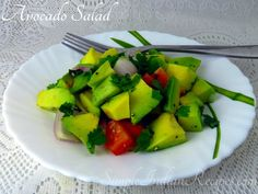 Avocado Salad - A quick, healthy and filling salad made with avocados. Indian Salads, How To Make Salad, Avocado Egg, Zucchini, Vegetables, Healthy, Breakfast, Food, Morning Coffee
