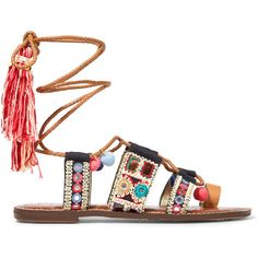 631e68d33d2ae Sam Edelman Gretchen embroidered canvas and leather sandals ( 125) ❤ liked  on Polyvore featuring