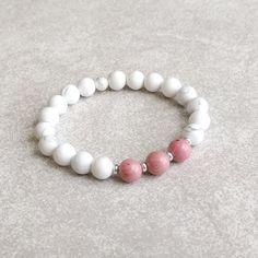 Pink Rhodonite & White Howlite Bracelet  by Golden Lotus Mala.