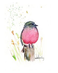 Pink Spring Robin colourful watercolor bird art 8.5x11 PRINT