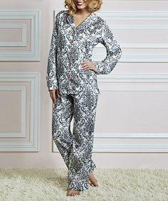 This Cream & Black Bouquet Damask Boyfriend Cotton Pajamas - Women by Jessie Steele is perfect! #zulilyfinds
