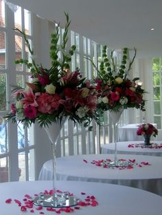 Large martini glass and large floral centrepiece