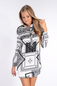 Victoria Black And White Printed Oversized Shirt Dress