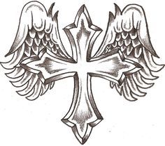 Cross with wings tattoo Future Tattoos, Love Tattoos, Body Art Tattoos, New Tattoos, Tatoos, Wing Tattoos, Tattoos Pics, Amazing Tattoos, Feather Tattoos