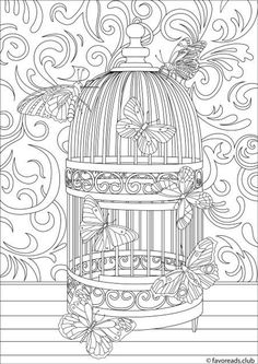 Cage - Printable Adult Coloring Page from Favoreads (Coloring book pages for adults and kids, Coloring sheets, Coloring designs) Detailed Coloring Pages, Printable Adult Coloring Pages, Mandala Coloring Pages, Coloring Book Pages, Free Coloring Sheets, Kids Coloring, Butterfly Cage, Butterfly Coloring Page, Arte Disney