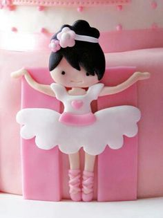Two tier pink and white birthday cake with a dainty pink appliqué ballerina. By Sabores da Gula. Fondant Toppers, Fondant Cakes, Cupcake Cakes, Torte Ballerina, Ballerina Birthday, Birthday Cake, Ballerina Bun, Baby Cakes, Girl Cakes