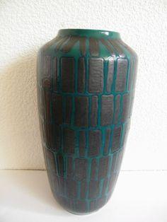 Vase Floorvase Scheurich 517 West german pottery Fat Lava 45 cm Metal glaze | eBay