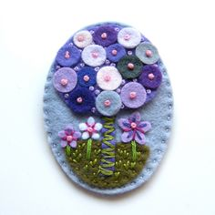 Tree felt brooch with freeform embroidery. £15.00, via Etsy.
