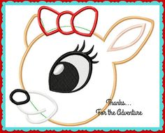 The Most Famous Christmas Reindeer of All's Girlfriend Applique Digital Embroidery Machine Design File 4x4 5x7 6x10