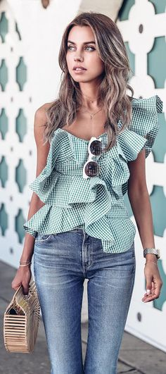 ruffle top and jeans!