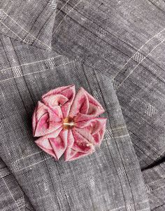 Lapel Flower Pin Pink Dupioni Silk Kanzashi Custom Mens Lapel Pin Boutonniere SALE