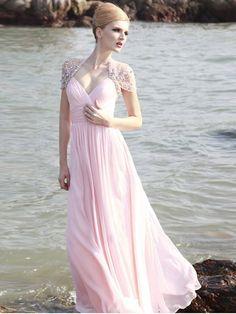Elegant A-line V-neck Beading Short Floor-length Chiffon Dresses