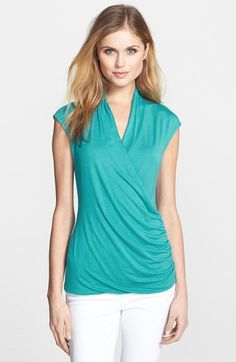 Vince Camuto Cap Sleeve Faux Wrap Top Teal