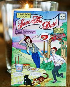 Custom Cartoon Save-the-Date Reggie would love this!