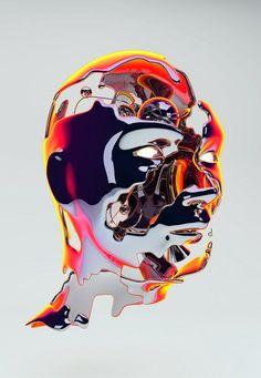 Celebrity Profile Portraits : Davide Morettini New Retro Wave, Arte Robot, Arte Cyberpunk, Graphic Art, Graphic Design, Glitch Art, Retro Futurism, Looks Cool, Vaporwave