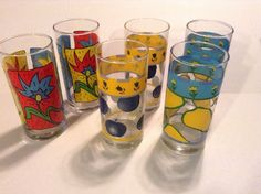 "Vintage ""KIG INDONESIA"" Drinking Glasses set of (6) Barware Large"
