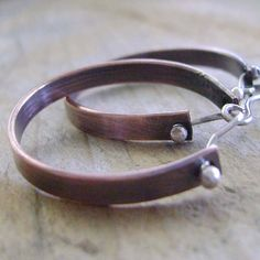 Copper Hoop Earrings with Sterling Silver by MixedMetals on Etsy, $26.00