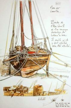 This particular sailboat cabin is definitely a very inspirational and very good idea Watercolor Sketchbook, Artist Sketchbook, Watercolor Print, Watercolor Illustration, Contour, Building Sketch, Nature Sketch, Boat Painting, Learn Art