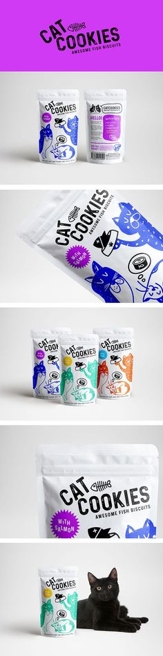 Cat Cookies I Fish Biscuits - Love This! I #PetBusinessGraphicDesign I #PetPackageDesign I #PetIndustryDesign