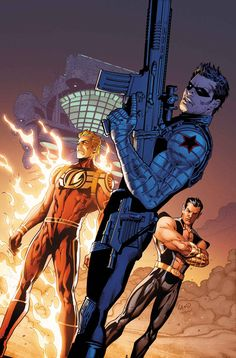 """""""All-New Invaders"""" 8 reunites Sub-Mariner, Bucky (the Winter Soldier) and the Human Torch (the one built by Horton) - and Toro! Cap has his own invasion (see the movie - again), but these heroes are ready to declare war on a new enemy!"""