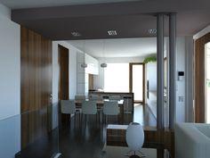 Casa M - Vista della zona pranzo e cottura e dell'ingresso dal soggiorno                                - Massimo Rinaldo architetto -