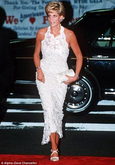 Laced up: Princess Diana sports the vintage look in  1996 at a Breast Cancer Research Charity Dinner in Washington