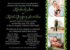 Kara's Koncepts Graphic Design | Custom Wedding Invitations | Green Theme | Damask Wedding Announcement