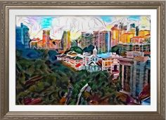 View From Fort Canning - Original Art Print. Original art by Roger Smith. Fort Canning, Singapore. Reproduced on Archival Heavyweight Paper http://www.zazzle.com/view_from_fort_canning_original_art_print-228775679720656942 #Singapore #art #FortCanning #RogerSmith #print