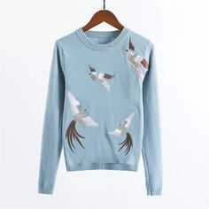 2017 Spring Autumn Women leisure crane Embroidery knitted Sweater Pullovers O-Neck Soft Warm Cashmere Pullover Female Clothings