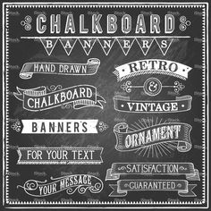 Set of vintage banners and ornaments. Each object is grouped and file… Vintage Chalkboard Banners Royalty Free Stock Vector Art Illustration Blackboard Art, Chalkboard Writing, Chalkboard Banner, Vintage Chalkboard, Chalkboard Designs, Chalkboard Ideas, Chalkboard Typography, Chalkboard Walls, Chalkboard Drawings
