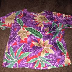 Vintage Floral Top  Purple, Red and Green Hues incorporated within this Vintage and Floral Top. Paired Perfectly with a Distressed Jean and Sandal! Tops Blouses