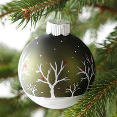 Lovely handpainted winter scene on ornament