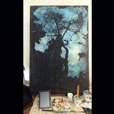 When I paint silhouettes it's a slow but wonderful process as out of an abstract process an image involves. An oil painting in my Durban studio. Painting Process, Silhouettes, Oil, Studio, Abstract, Image, Idea Paint, Summary, Silhouette