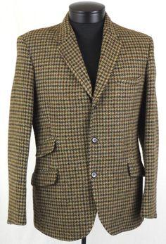 Vintage Harris Tweed 100% Wool Houndstooth Blazer Sports Jacket Measures Small S #HarrisTweed #ThreeButton
