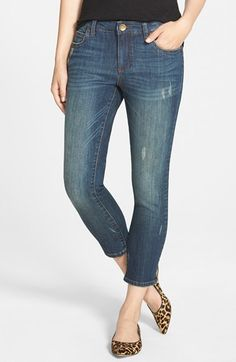 KUT from the Kloth 'Reese' Distressed Stretch Ankle Jeans (Conviction) at Nordstrom.com. A contemporary ankle length updates classic five-pocket jeans in a slim cut with a faded and whiskered finish for well-worn appeal. A touch of distressing authenticates the broken-in look.