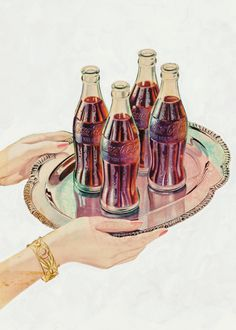The Art of Coca-Cola. AMERICAN ARTIST Century) Cokes on a Tray, Coca-Cola advertisement, 1947 Watercolor and gouache on board x in. (sight) Not signed The Art of Coca-Cola Coca Cola Ad, World Of Coca Cola, Coca Cola Bottles, Vintage Advertisements, Vintage Ads, American Artists, Retro, Coke, Amazing Art