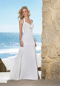 A-Line Halter Floor Length Attached Chiffon Beading Wedding Dress style 10944 - - US$189.99