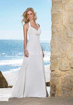 A-Line Halter Floor Length Attached Chiffon Beading Wedding Dress style 10944 - - US$189.99