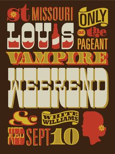 Want this Vampire Weekend concert poster by Vahalla Studios