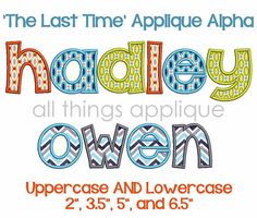 You will receive 26 letters in BOTH uppercase and lowercase with 4 sizes for each letter.  Sizes Include:  4X4 hoop: approx. 2.0 tall 4X4/5X7 hoop: approx. 3.5 5X7 hoop: approx. 5.0 tall 6X10 hoop: approx. 6.5 tall  Note: The lowercase a,c,e,m,n,o,r,s,u,v,w,x,&z are adjusted to scale and have the following approximate heights: 1.75, 3.0, 4.1 and 5.7. Formats: BX, PES, HUS, JEF, SEW, DST, VIP, VP3, EXP, XXX   TERMS OF USE: *All designs are copyrighted by either All Things Applique or ...