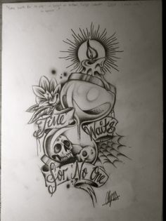 Hourglass Pencil Drawing by itchysack skull candle Time waits for no one flower Tattoo Flash Art ~A.R.
