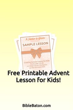 Looking for a free Advent lesson for children's church or Sunday School? Look no further! This Christmas Bible lesson plan for kids, based on Luke 1, does a beautiful job of introducing the events surrounding Christ's birth in a way that's fun and engaging for children. Click through to get your free printable Advent lesson for children now! Family Bible Study, Christmas Bible, Luke 1, Bible Lessons For Kids, The Ultimate Gift, Object Lessons, Hands On Activities, Sunday School, Lesson Plans