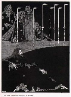 Pit & the Pendulum Harry Clarke Edgar Allan Poe Original Vintage Horror Illustration For Framing Bla