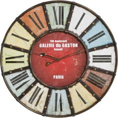 Colourful antique style informs the nostalgic aesthetic of the Galarie du Gaston wall clock, with thick roman numerals and bold iron struts creating a distinctive piece of wall decor. Kare Design, Gaston, Roman Numerals, Wall Colors, Furniture Decor, Designer, Retro Vintage, Wall Decor, Paris