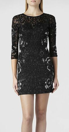 AllSaints Ivy Long Sleeve Dress. perfect New Years Eve party dress.